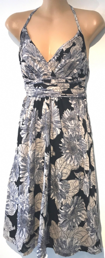 H&M CREAM BLACK FLORAL HALTER SUMMER DRESS SIZE 8
